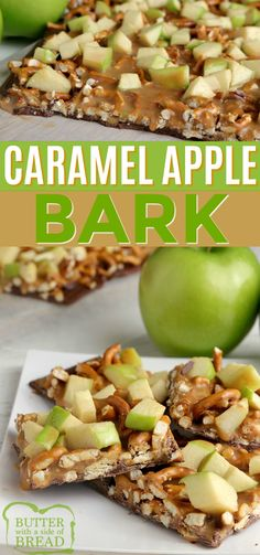 Caramel Apple Bark made with milk chocolate, pretzels, caramel and apples. Only four ingredients to make this simple dessert! Easy No Bake Desserts, Fall Desserts, Delicious Desserts, Recipes Using Fruit, Apple Recipes Easy, Trifle Pudding, Homemade Snickers, Cheesecake Desserts, Strawberry Desserts