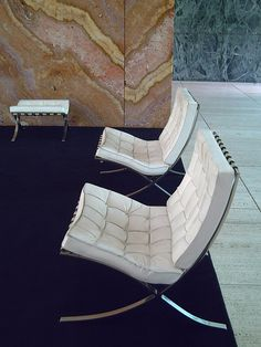 Furniture.  Barcelona Chair for the German Pavillion, 1929; Barcelona, Spain; Ludwig Mies van der Rohe.