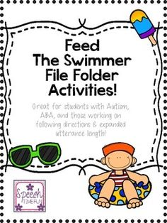 Speech Time Fun: Feed the Swimmer File Folder: Great for ABA, following directions, expanding utterance, answering questions, and more!  Tons of activities included and limited preparation required!