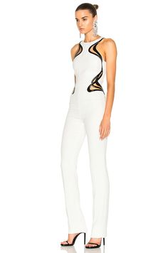 Mugler Technical Cady Leather Embossed Wave Jumpsuit in Off White | FWRD