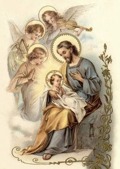 Joseph addressing the Divine Child Jesus - St. St Joseph, Jesus Mary And Joseph, Catholic Prayers, Catholic Art, Catholic Saints, Catholic Pictures, Jesus Pictures, Religious Images, Religious Art