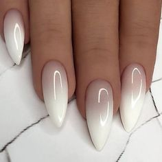 Wonderful Long White Nail Designs to Show Off in 2019 : Page 21 of 29 : Creative Vision Design How to apply nail polish? Nail polish on your friend's nails Long White Nails, White Nail Art, Long Nails, White Oval Nails, White Almond Nails, White French Nails, Long Almond Nails, Black Ombre Nails, Almond Nail Art