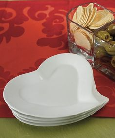 Heart Shaped Plates, package of 4 -- $19.67 #wedding #serveware #tablescape #reception