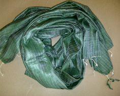 86x33 Green Indian Eri Silk Scarf Shawl Long Scarf (0026). $21.99, via Etsy.