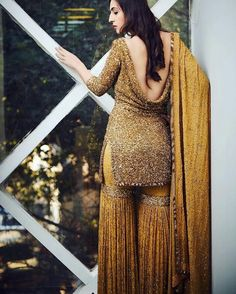 Indian Designer Suit Kameez With Garara Sharara Pant Beautiful Wedding Wear Dres Indian Attire, Indian Wear, Indian Suits, Pakistani Dresses, Indian Dresses, Sarara Dress, Sharara Designs, Indian Designer Suits, Sari