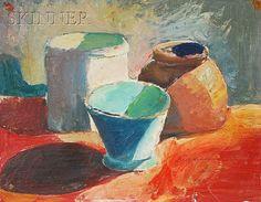 Henry Hensche (American, 1899-1992) Lot of Two Works: Still Life with Copper Ewer and Still Life with Pottery Copper signed 'HHENSCH...