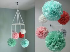 Mobiles are perfect to entertain, soothe, distract, and calm your baby as well as add color and charm to your room. These pretty poms will look like