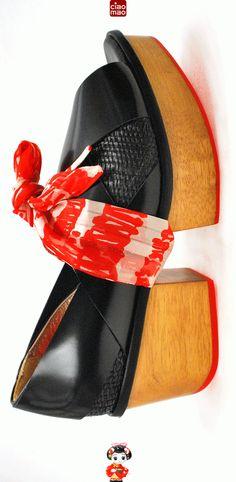 O presente da Gueixa - Sandália TYRA PLATOO com lenço de seda - Women's sandals - www.ciaomao.com