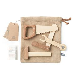 Fanny & Alexander Heirloom Wooden Tool Set £44.00 This four-piece tool set has been handcrafted in Argentina from Guatambu and Incense wood and comes in a burlap keep-safe bag. Impeccable quality, this set of tools would make the most beautiful gift for a budding builder (and would make daddy jealous!).