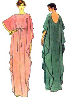 1970s Caftan Pattern Vogue 7251 Womens Long Caftan with Lowcut Back Evening Gown Vintage Sewing Pattern Bust 34 via Etsy
