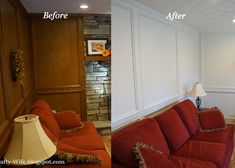 DIY painting wood judges paneling in living room den. Priming with Zinsser BIN primer, caulk and painting wood paneling for updating the look of room. Paint Over Wood Paneling, Wood Paneling Makeover, Painted Wood Walls, Painted Rug, White Paneling, Painting Paneling, Paneled Walls, Judges Paneling, Beadboard Wainscoting