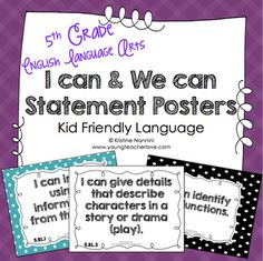 I Can Statements 5th Grade ELA Posters | I Can & We Can - Kid Language - This is the COMPLETE 5th Grade English Language Arts Common Core Standards. That's over 400 pages in kid friendly language. Different poster options available to fit a variety of needs. This also works perfect with a student data tracking binder. Grab this for your fifth graders today! #YoungTeacherLove #5thGrade #ICanStatements 5th Grade Ela, 5th Grade Classroom, Common Core Ela, Common Core Standards, Special Education Teacher, My Teacher, Student Data Tracking, Large Posters, I Can Statements