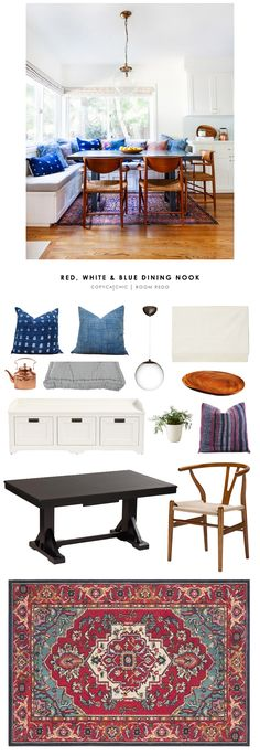Copy Cat Chic Room Redo | Red, White, and Blue Dining Nook