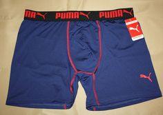 """PUMA Size Large Men's Boxer Brief Tagless Underwear Navy Blue & Red  6"""" Inseam  #PUMA #BoxerBrief"""