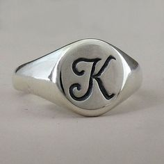 Sterling Silver Initial Signet Ring by esdesigns on Etsy, $45.00