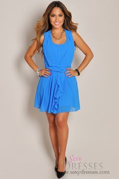 Sleeveless Sky Blue Pleated Skirt Dress