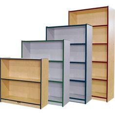 "Mahar Creative Colors Single-Sided 72"" Bookcase Finish: Gray Nebula, Trim Color: Red"