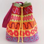 Color block drawstring bag/ Bolso de bloques de color
