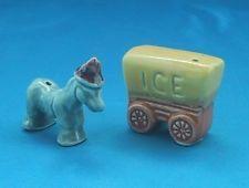 Arcadia Ceramics ICE WAGON & DONKEY Vintage Miniature Salt & Pepper Shakers VHTF