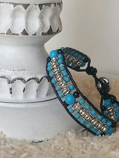 Turquoise Black glass silver beaded black by TotallyToniDesigns, $25.00