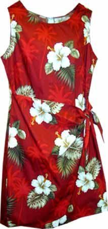 Palm Tree Hibiscus Hawaiian Dress  Womens Hawaiian Dress  Aloha Dress  Hawaiian Clothing  100 Cotton Red 2XL ** Visit the image link more details.(This is an Amazon affiliate link)