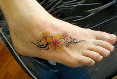 yellow-plumeria-tribal-foot-tattoo – foot tattoos for women flowers Tribal Flower Tattoos, Flower Tattoo Foot, Flower Tattoo Designs, Floral Tattoos, Frangipani Tattoo, Tattoos Skull, Cute Tattoos, Body Art Tattoos, Wrist Tattoos