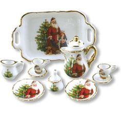 CHRISTMAS COFFEE / TEA SET FOR TWO DOLLHOUSE MINIATURE by REUTTER PORCELAIN #Reutter