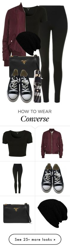 """Style #11078"" by vany-alvarado on Polyvore featuring Topshop, Prada, Converse and Burberry"