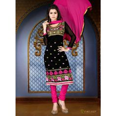 Khushali Women's Black Chanderi Unstitched Straight Suit