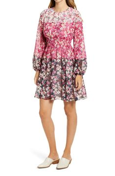 Free shipping and returns on Eliza J Colorblock Floral Smocked Waist Long Sleeve Dress at Nordstrom.com. Painterly flowers bloom across three background colors on this romantic dress shaped by a wide smocked waistband and long balloon sleeves. Dresses For Sale, Nice Dresses, Floral Dresses, Cotton Frocks, Nordstrom Sale, Eliza J Dresses, Dress Shapes, Nordstrom Anniversary Sale, House Dress