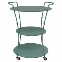 """3-tiered metal beverage cart in aqua with caster wheels.   Product: Bar cartConstruction Material: MetalColor: AquaFeatures: Three tiersTwo handlesFour caster wheelsDimensions: 27.5"""" H x 20.5"""" W x 14"""" D"""