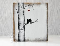 This painting features a cute little pair of love birds perched in an Aspen Tree. A heart hanging above symbolizes the love between the pair. This painting would make a great wedding, anniversary, Pine Tattoo, Love Birds Painting, Painting On Wood, Love Canvas Painting, Bird Paintings, Diy Painting, Wood Anniversary Gift, Wedding Painting, Winter Painting