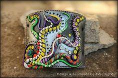Cuff clay bracelet sun tribal vibrant psy trance by SweetlyART, $55.00
