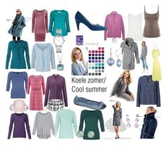 """""""Het koele zomertype. Cool summer color type."""" by roorda ❤ liked on Polyvore featuring moda, Samoon, Hahn, Armani Jeans, John Hardy, Nine West, Marc by Marc Jacobs, Accessorize e Ippolita"""