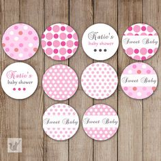Printable Small Candy Labels - 0.75 inch Candy Stickers Baby Shower Favors Pink Polka Dots DIY Party Favors Personalized Girl