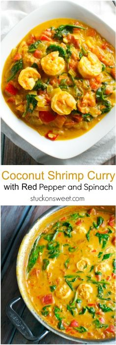 Coconut Shrimp Curry with Red Pepper and Spinach This recipe is healthy and perfect for dinner Plus it has tons of flavor Curry Recipes, Fish Recipes, Seafood Recipes, Indian Food Recipes, Asian Recipes, Vegetarian Recipes, Dinner Recipes, Cooking Recipes, Healthy Recipes