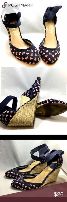 "REPORT Wedge Shoes, Antonella blue floral canvas Beautiful wedge shoes from REPORT.  Worn once or twice, but, just taking up space.   They slip right on.  The straps around the ankle are stretchy, strong elastic bands that keep your feet in place.  And although they're high, they're wedges so they're comfy!  Dark, navy blue canvas outer, with pink and white clovers all over.  They call this design the ""Antonella.""  I haven't found this print (in this style) available anywhere online, so, it…"