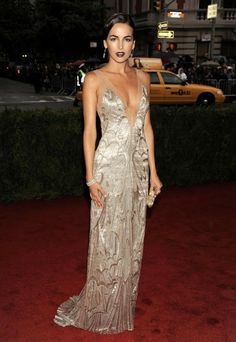 The weight of the the solidly beaded gown, and its high cost to make, has made them rare today. But beads still make for excellent decoration, and their sheen provides a tantalizing contrast with bare skin. One great example is shown below, a Ralph Lauren 1920s-inspired gown worn by the belle Camilla Belle at the Met's Costume Institute Gala in 2012.