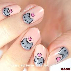 Happy Valentines Day from me and Pusheen! 💕 I loved my Rilakkuma nails so much that I wanted to do a second version featuring for… Kawaii Nail Art, Cat Nail Art, Animal Nail Art, Pink Nail Art, Cat Nails, Nail Art Diy, Bunny Nails, Coffin Nails, Minimalist Nails