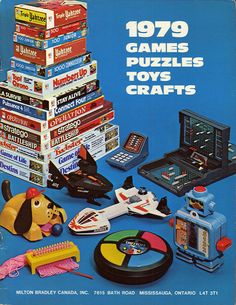 1979 Milton Bradley Canada Catalog - Front Cover Milton Bradley Ad was born in 1979 and I played with these classic toys in the :) Vintage Games, Vintage Toys, Retro Games, Childhood Toys, Childhood Memories, Milton Bradley, 80s Kids, Oldies But Goodies, I Remember When