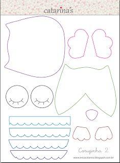 Amichevole Felt: Mold I gufi di Erica Catarina Owl Patterns, Applique Patterns, Sewing Patterns, Fabric Crafts, Sewing Crafts, Sewing Projects, Owl Templates, Applique Templates, Felt Owls