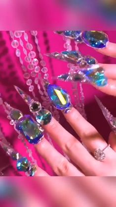 Will You Rock This - This pin showcases the creativity that comes from using nail accessories - Rhinestone Nails, Bling Nails, 3d Nails, Swag Nails, Cute Nails, Coffin Nails, Bling Nail Art, 3d Nail Art, Crazy Nail Art