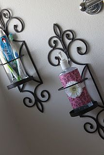Great idea - keeps it close by, but off the sink and kinda cute too.