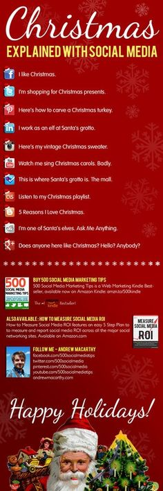 [Infographic]: Christmas Explained With Social Media. Inbound Marketing, Digital Marketing Strategy, Internet Marketing, Online Marketing, Marketing Guru, Social Media Humor, Le Social, Social Media Marketing, Social Media Explained