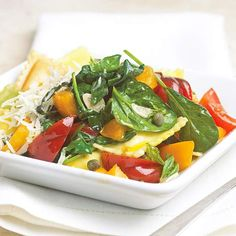 Protein: 22 grams per serving This colorful ravioli is both good for you and easy to make. It's full of protein and vitamin A, and takes just 35 minutes to put on the table.
