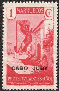 "Cape Juby  1934 Scott 40 1c bright rose ""Street Scene in Tangier"" Black overprint; On stamps of Spanish Morocco 1928-33"