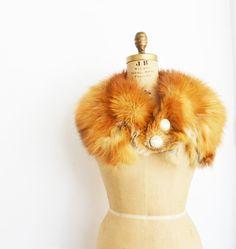 vintage orange fox fur wrap stole scarf by zaama on Etsy