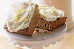 Homemade applesauce makes this cake moist and delicious.