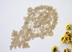 Gold Lace Bridal Applique Alencon Lace bridal by JimiLace on Etsy