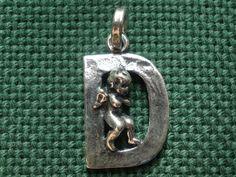 Giovanni Raspini Italy 925 Silver Alphabet Angel 'D' Charm Pendant #GiovanniRaspini #Pendant